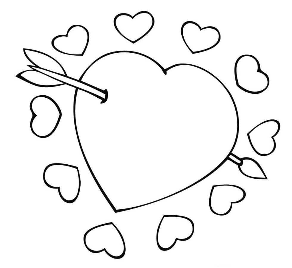 Tranh tô màu hình trái tim và mũi tên