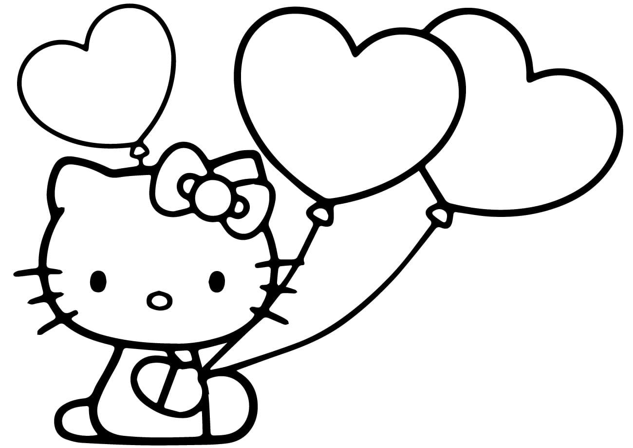 Tranh tô màu Kitty và chùm bóng trái tim