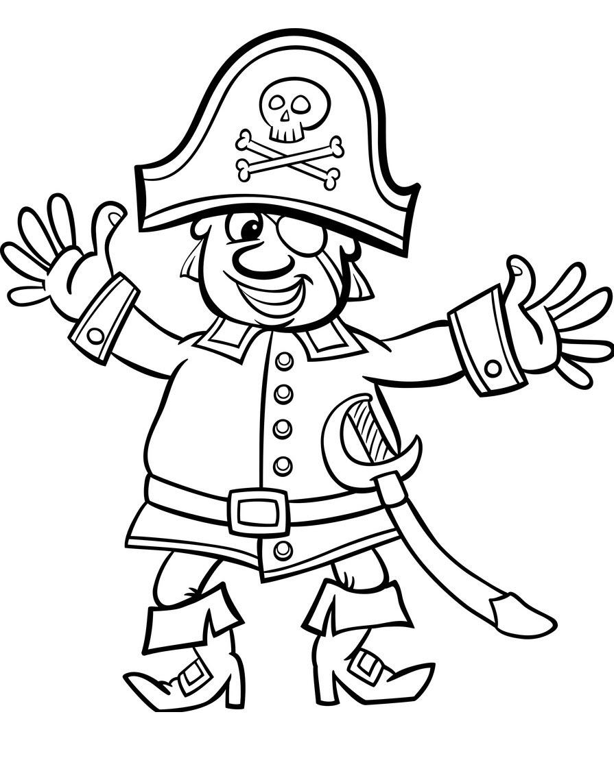 Tranh tô màu mũ cướp biển cartoon