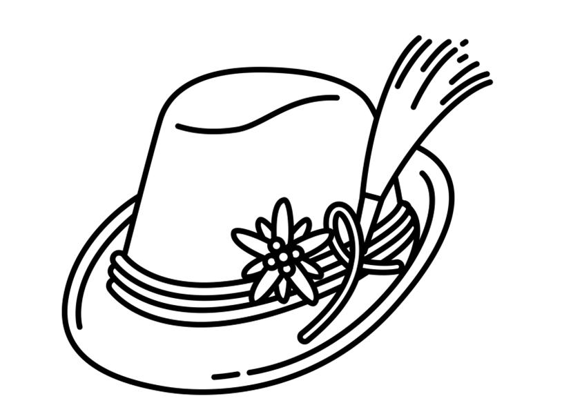 Tranh tô màu mũ đơn giản, đẹp