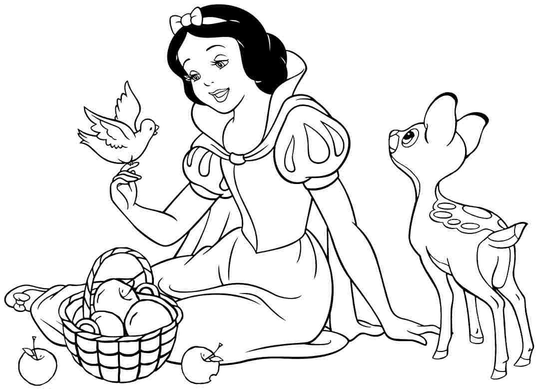 Tranh tô màu nàng bạch tuyết bên giỏ táo