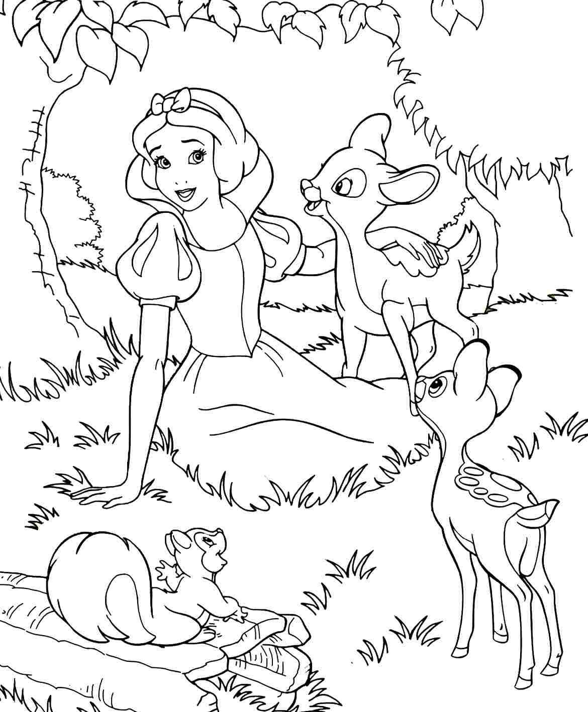 Tranh tô màu nàng bạch tuyết trong rừng