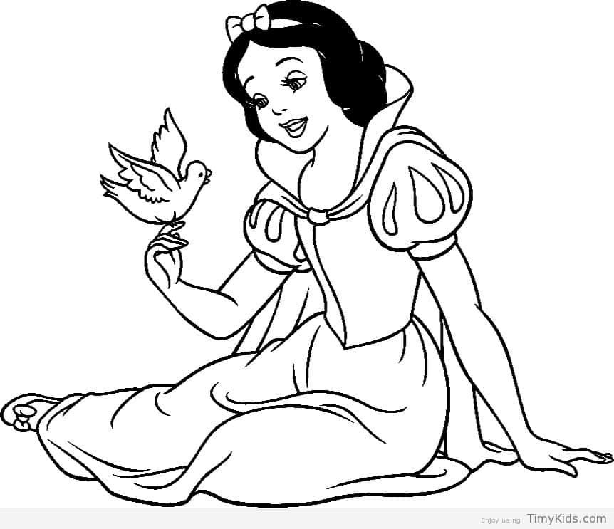 Tranh tô màu nàng công chúa bạch tuyết và chú chim nhỏ