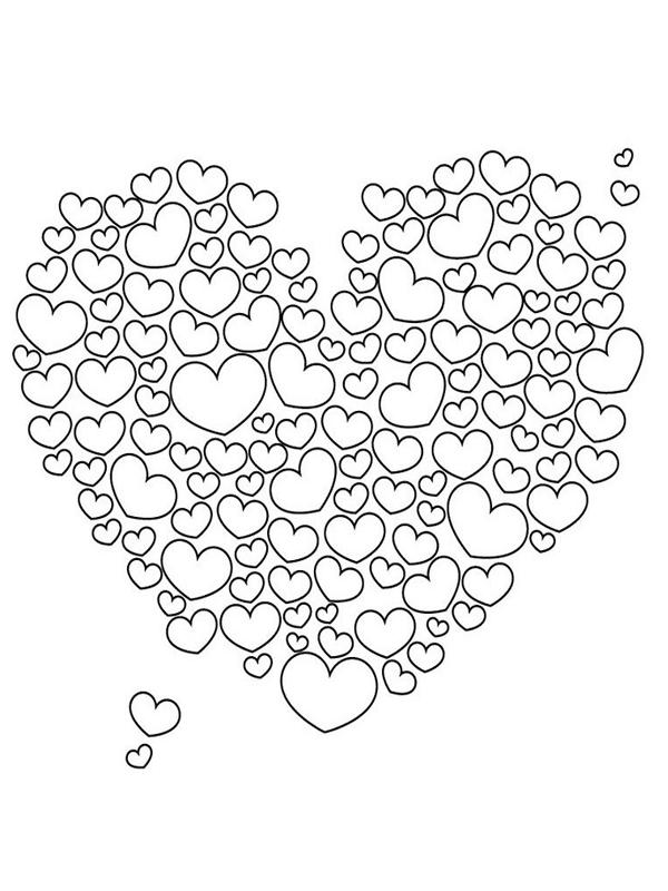 Tranh tô màu nhiều hình trái tim nhỏ
