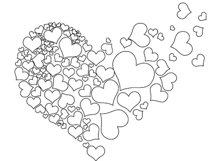 Tranh tô màu trái tim cho bé