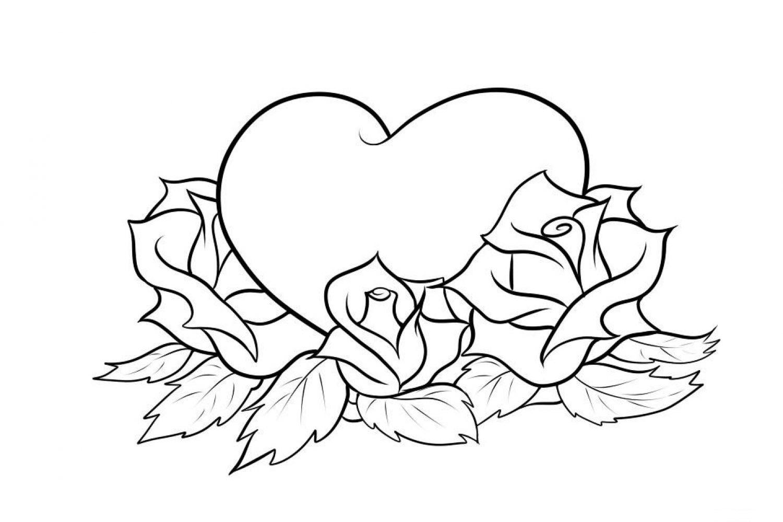 Tranh tô màu trái tim và hoa hồng