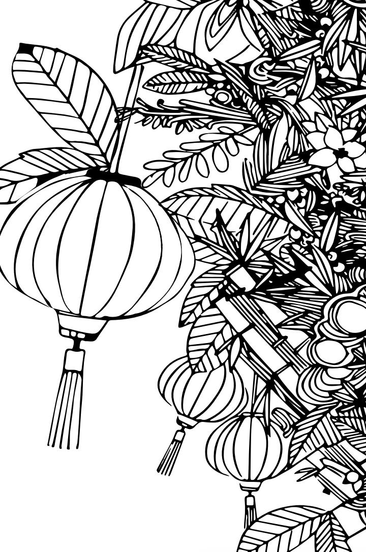Tranh tô màu trang trí cây ngày tết