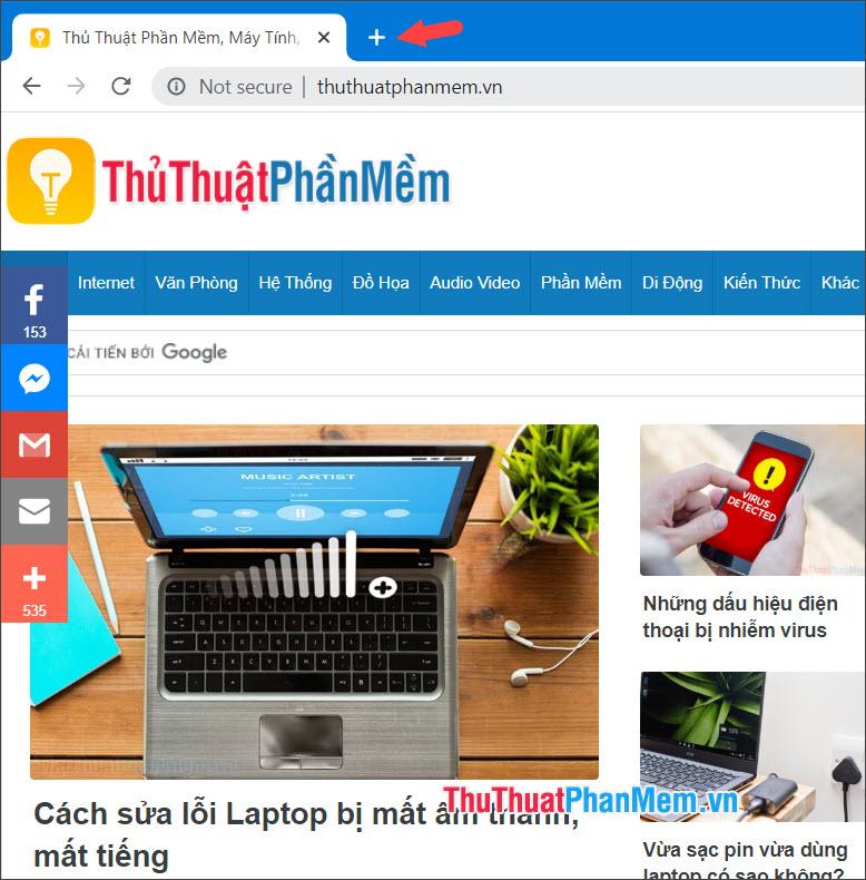 Click vào biểu tượng New tab trên Chrome để mở tab mới