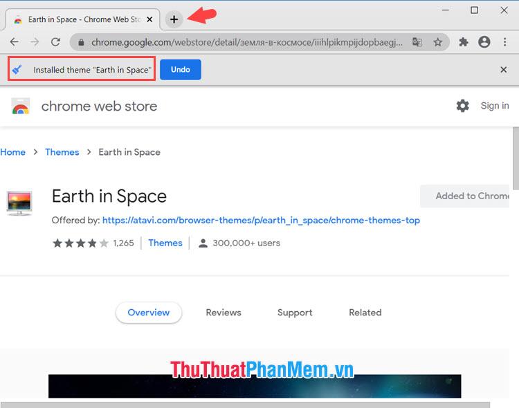 Click vào nút New tab để xem hình nền