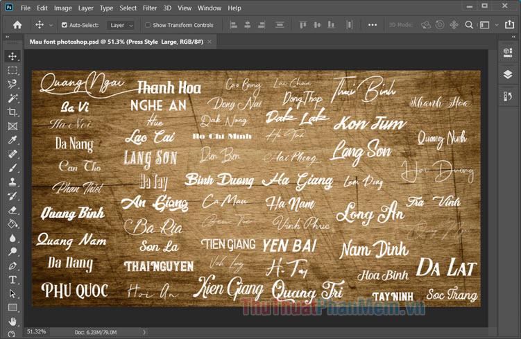 Bạn cần cài đặt font trước khi mở file PSD để phần mềm Photoshop không báo lỗi thiếu font