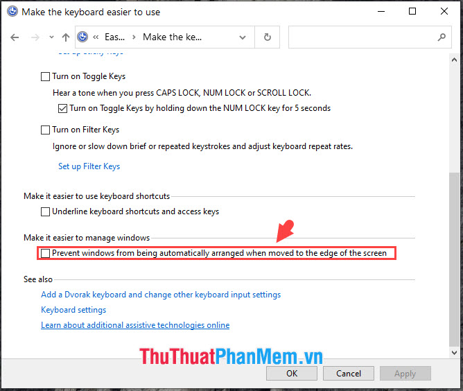 Bỏ chọn Prevent windows from being automatically arranged when moved to the edge of the screen
