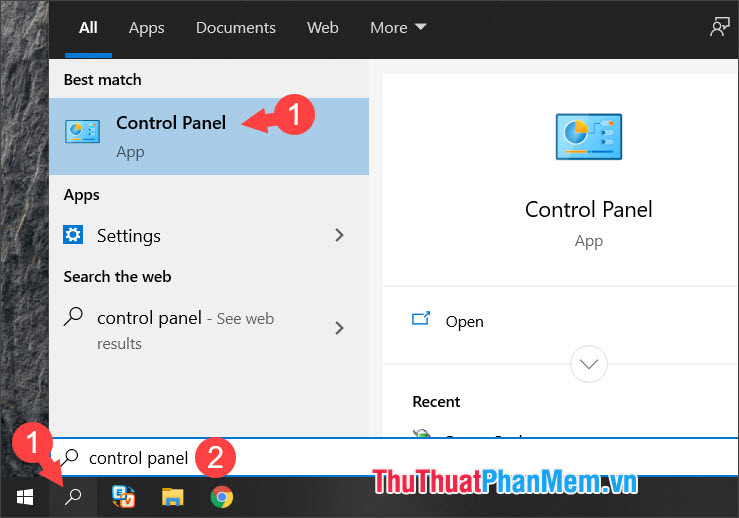 Click chọn Control Panel