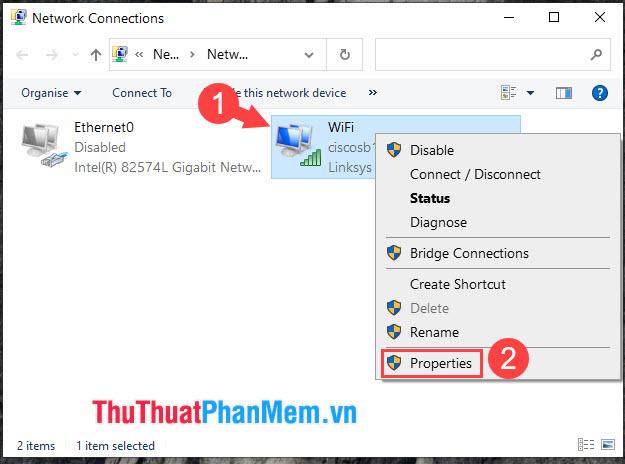 Click chuột phải vào adapter Wifi rồi chọn Properties