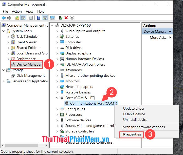 Click chuột phải vào Communications Port (COM1) và chọn Properties