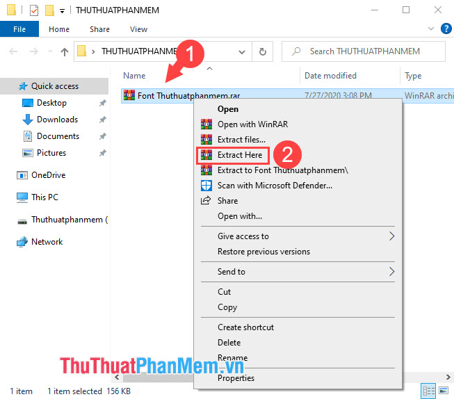 Click chuột phải vào file rồi chọn Extract Here