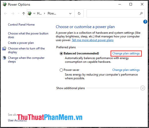 Click vào Change plan settings