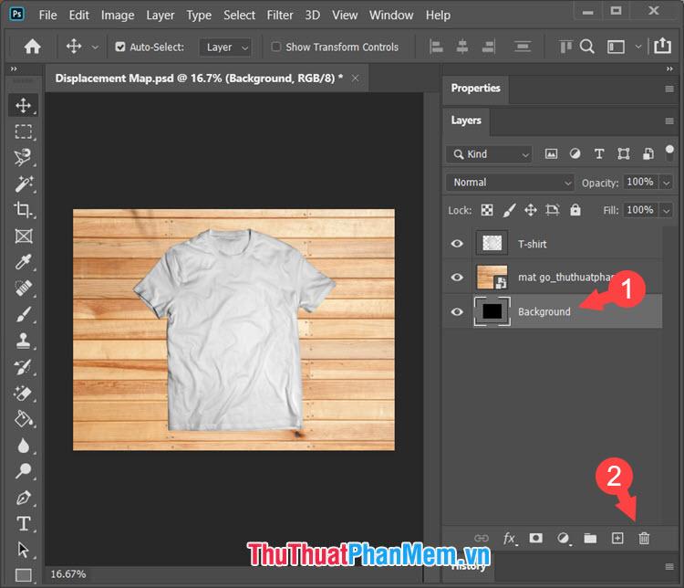 Click vào layer Background cũ và click vào biểu tượng Delete