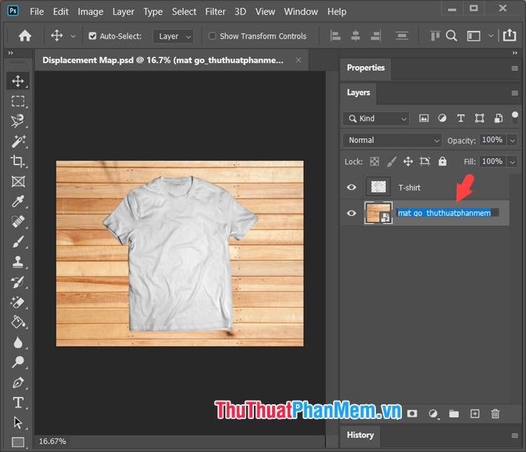 Để đổi tên background mới thì bạn hãy click đúp chuột trái vào phần tên layer