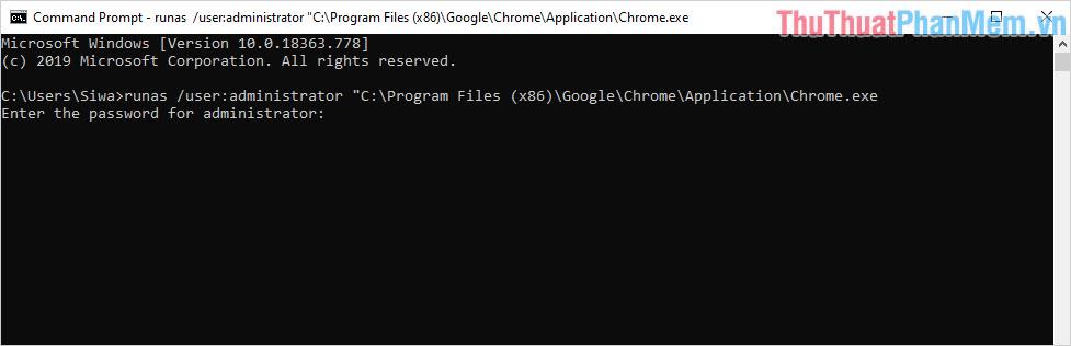 Lệnh mở Chrome với quyền Admin trên CMD