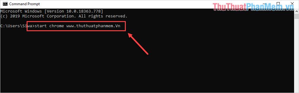 Lệnh mở trang web trong Chrome trên CMD