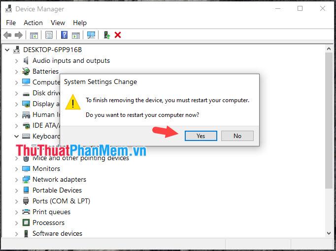 Nhấn Yes để khởi động lại máy và tắt bàn phím trên laptop