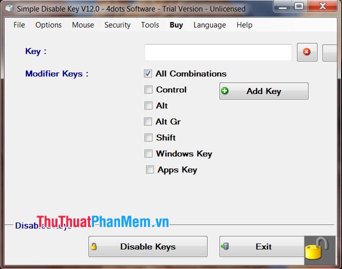Sử dụng phần mềm Simple Disable Key