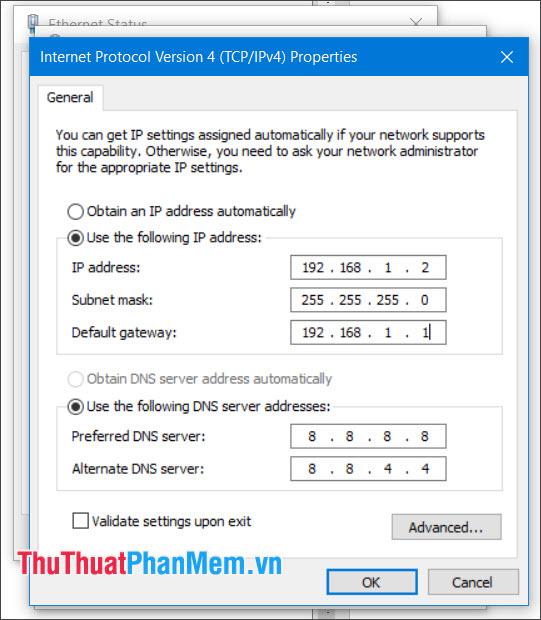 Thay đổi địa chỉ IP thành IP tĩnh