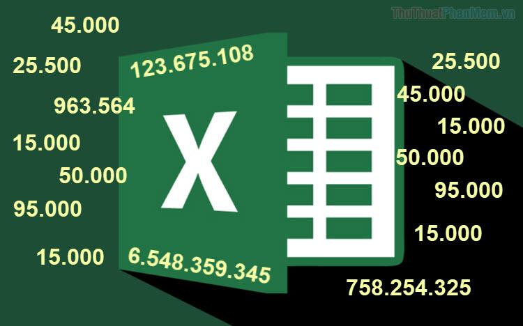 Thêm dấu chấm vào dãy số trong Excel