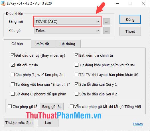 Với kiểu font chữ .VNAvant thì bạn thiết lập Bảng mã là TCVN3 (ABC)