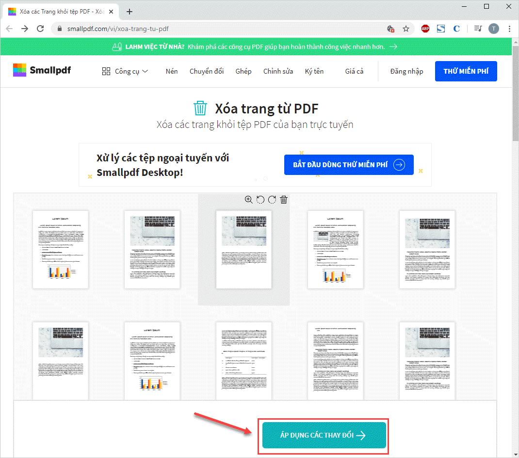 Chọn Áp dụng các thay đổi để lưu lại file PDF