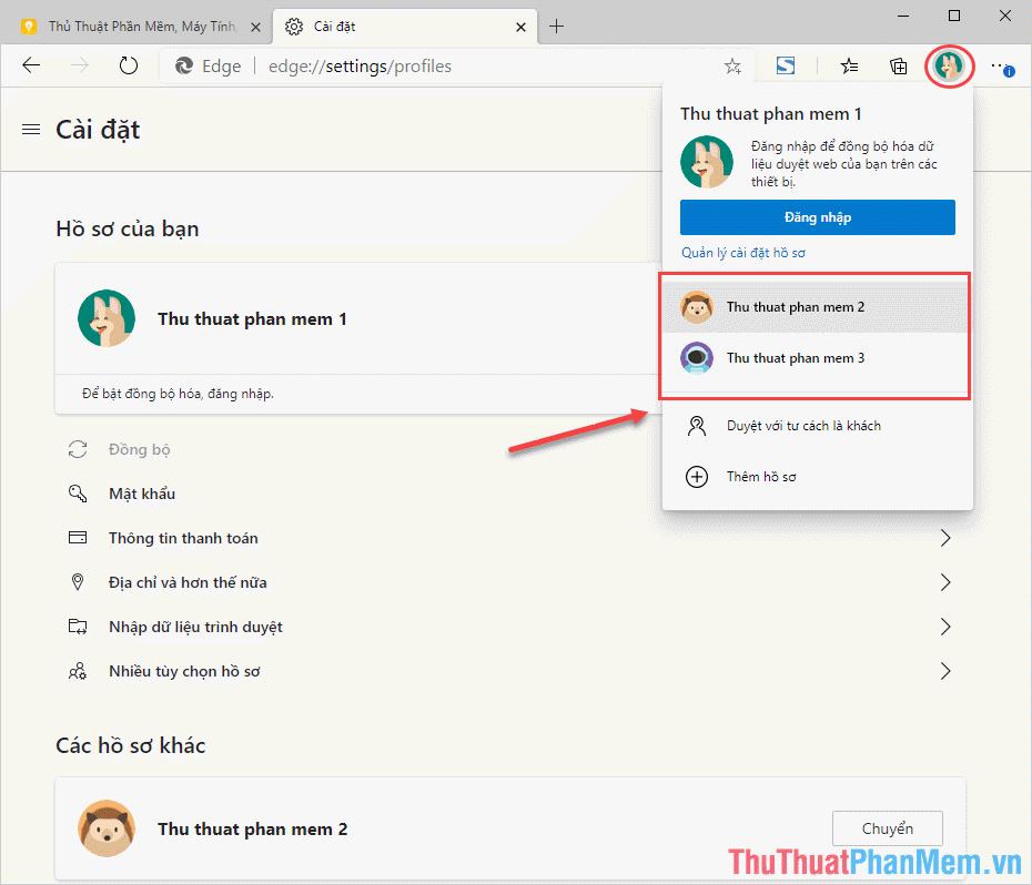 Chọn Cá nhân và chọn Profile muốn sử dụng