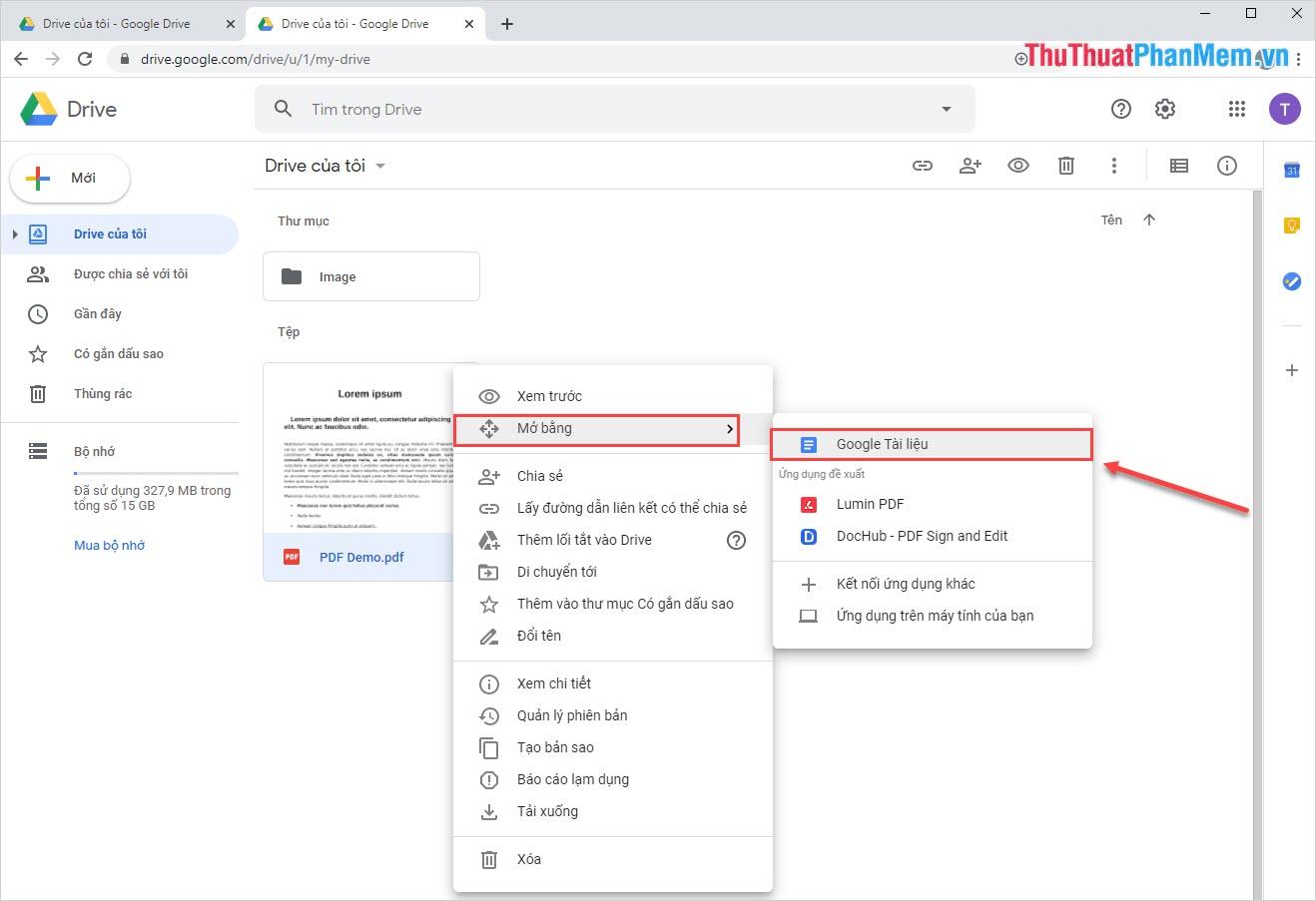 Chọn Google Tài liệu (Open With - Google Docs)