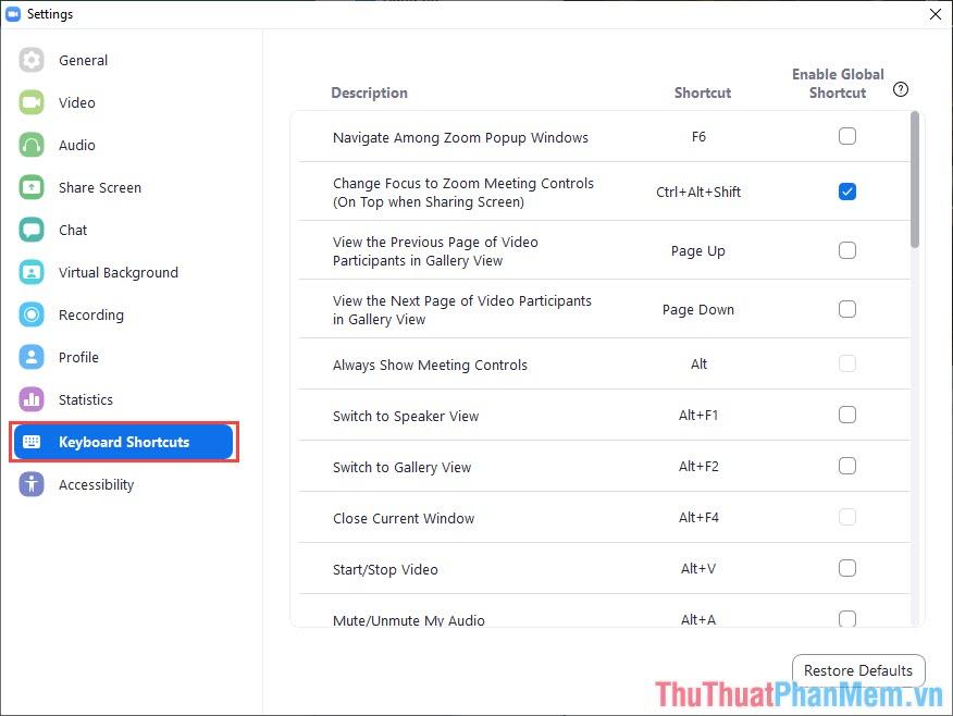 Tìm tới thẻ Keyboard Shortcuts để xem các phím tắt có sẵn trên Zoom