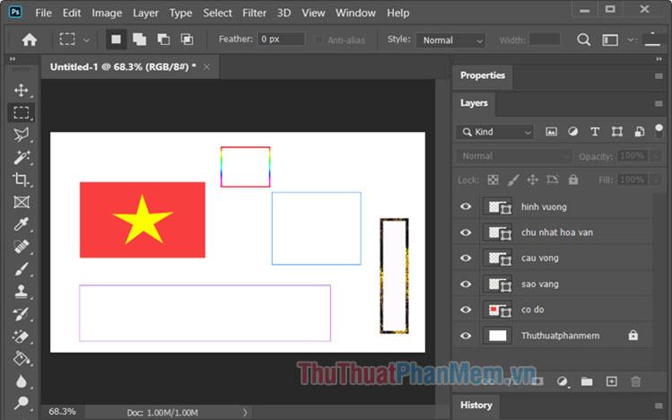 Cách vẽ hình vuông, hình chữ nhật trong Photoshop