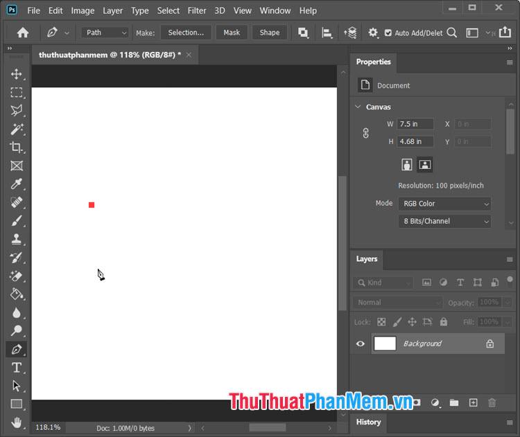 Click chuột trái tại 1 điểm bất kì trên màn hình để làm điểm đầu