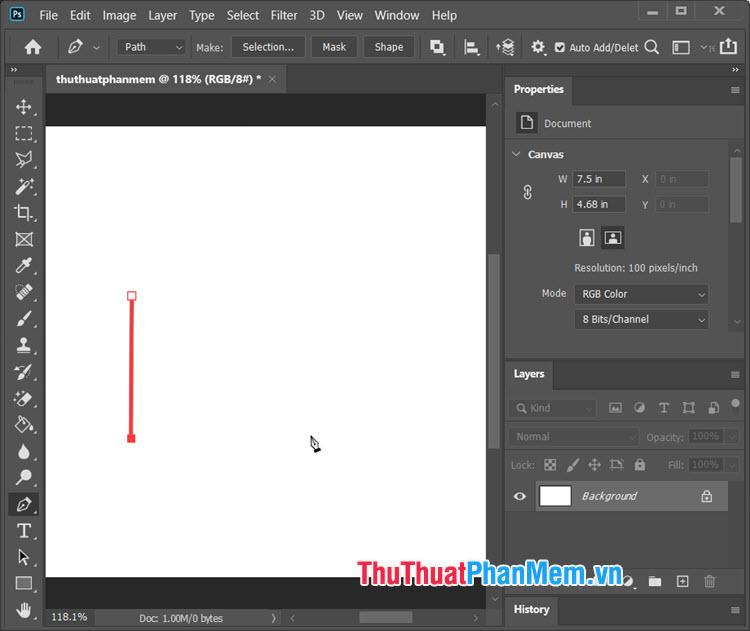 Click vào một vị trí khác để tạo thành 1 đường thẳng