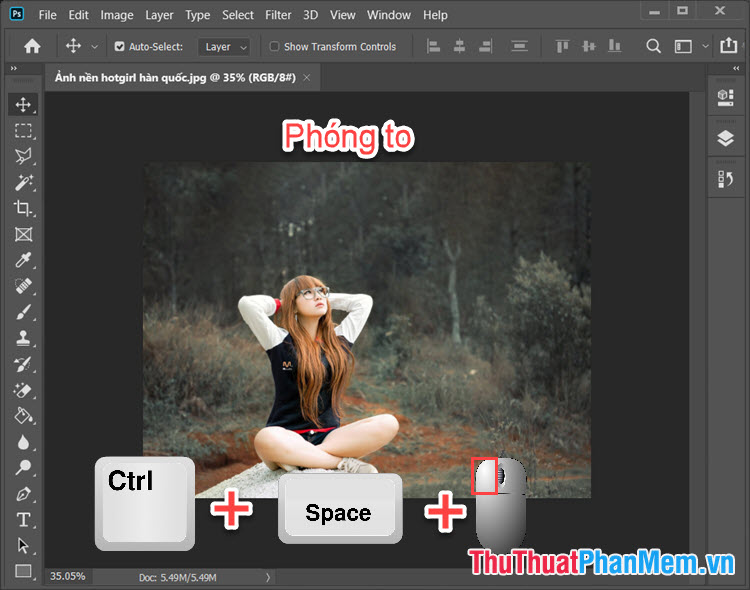 Ctrl + phím Space (phím cách) + click chuột trái