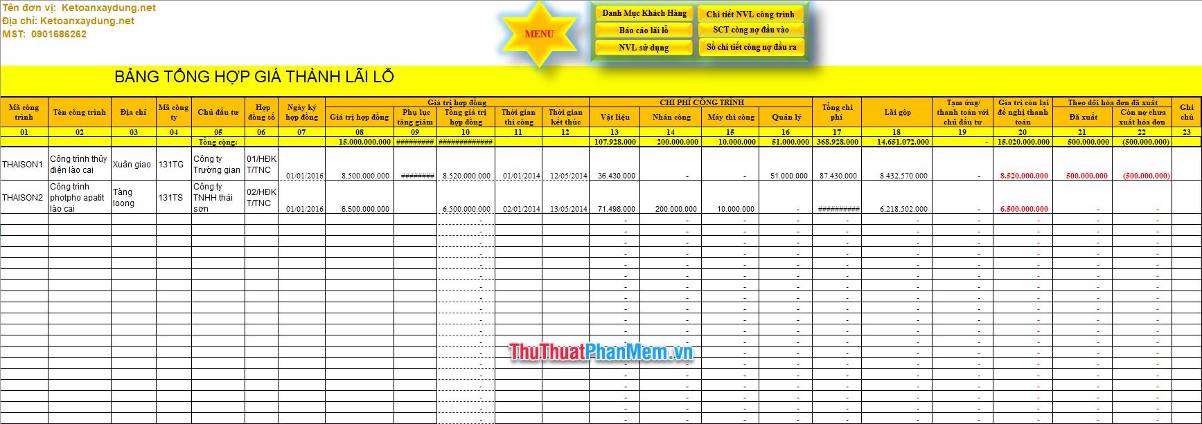 Demo file Excel quản lý công trình mới nhất 4