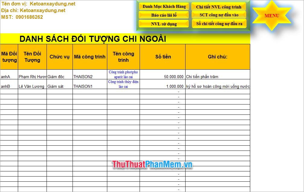 Demo file Excel quản lý công trình mới nhất 5