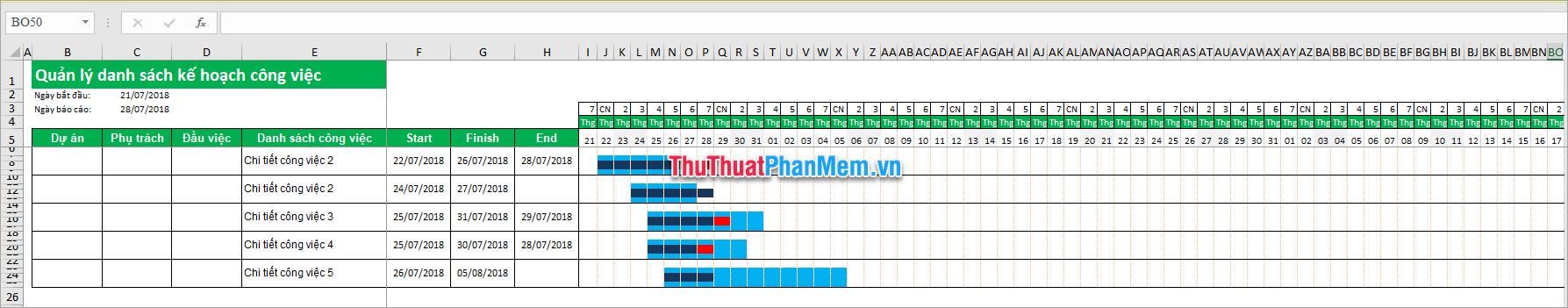 File quản lý công việc bằng Excel free