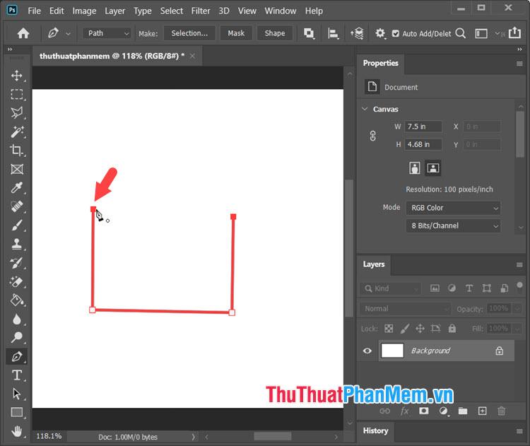 Đến đường thẳng cuối cùng thì bạn hãy click vào điểm đầu để khoá hình vẽ lại