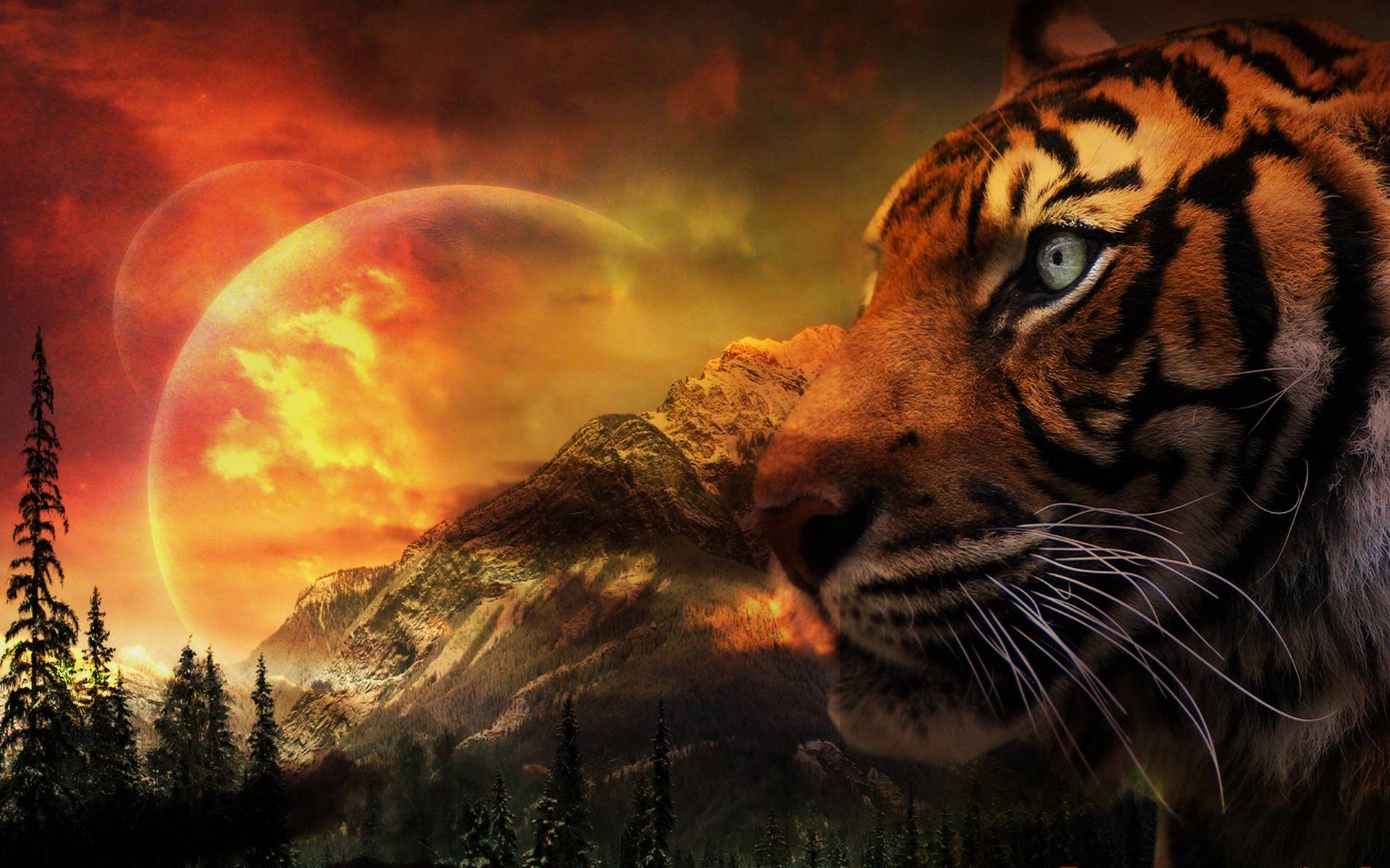 Fantasy landscape with tiger