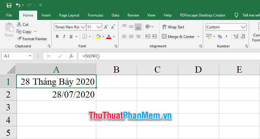 Cách thay đổi định dạng ngày tháng trong Excel