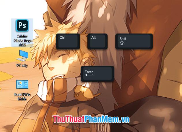 Sử dụng tổ hợp phím tắt Ctrl Alt Shift rồi ấn Enter vào biểu tượng Photoshop