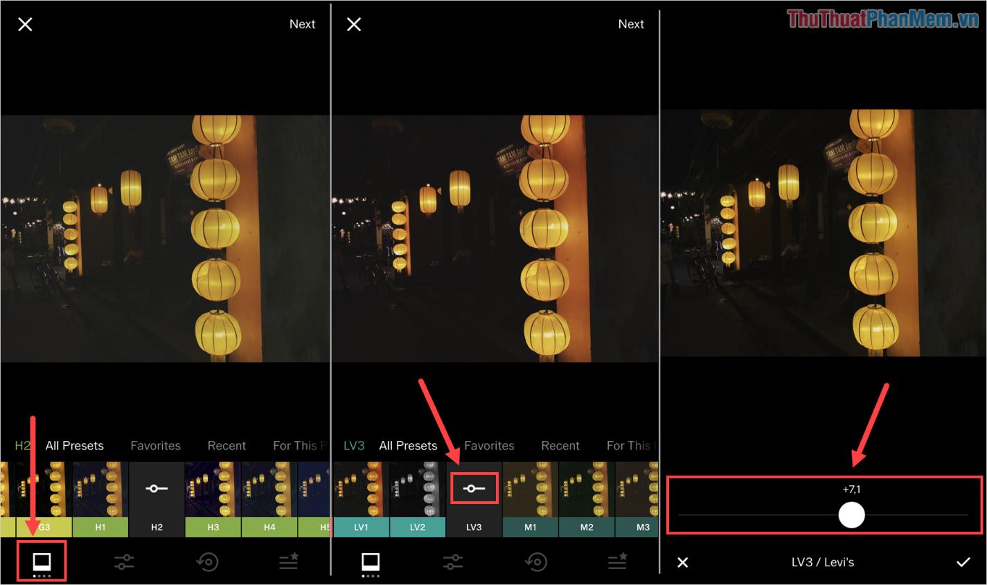 Bạn có thể nhấn vào thanh Opacity trên bộ lọc để thay đổi hiệu ứng đè màu của bộ lọc