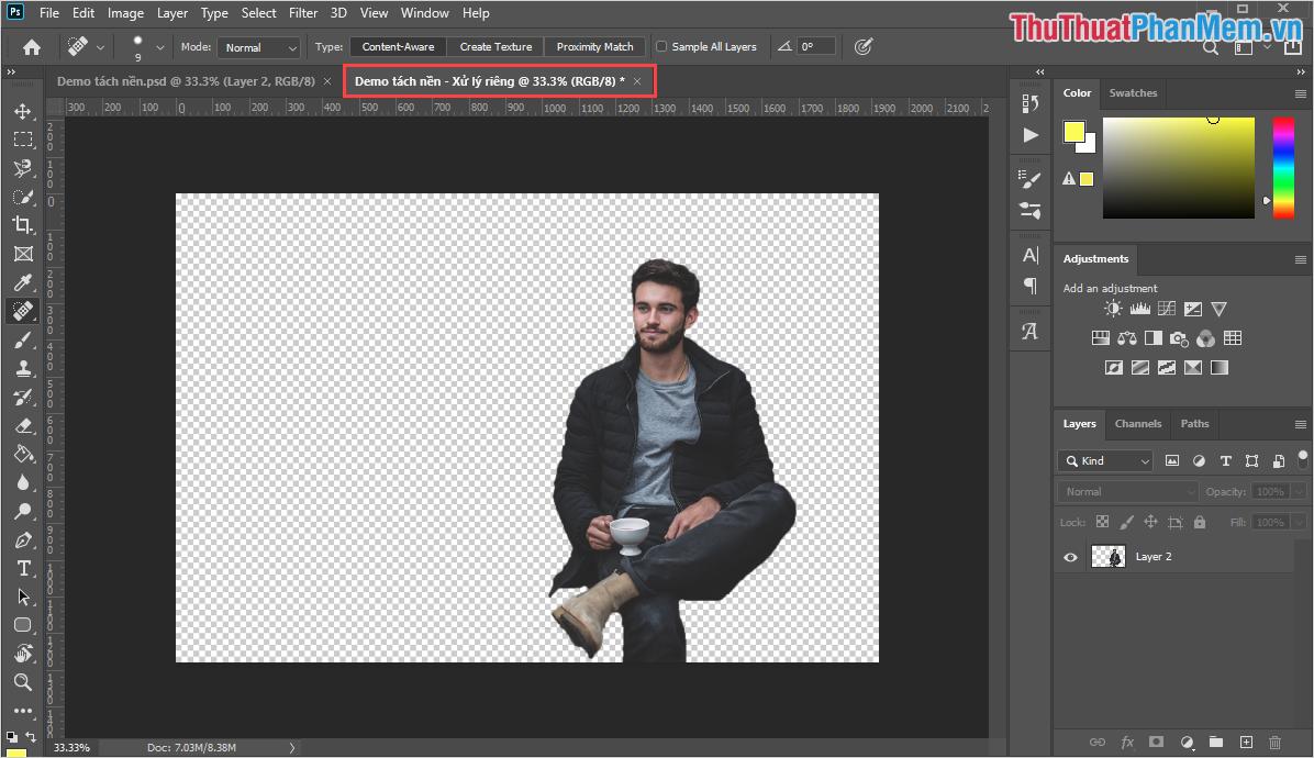 Bạn sẽ có thêm một cửa sổ làm việc mới với nội dung là Layer các bạn vừa mới chọn
