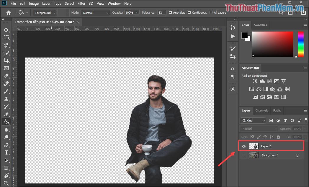 Bạn sẽ thấy phần Background chuyển thành những ô vuông caro