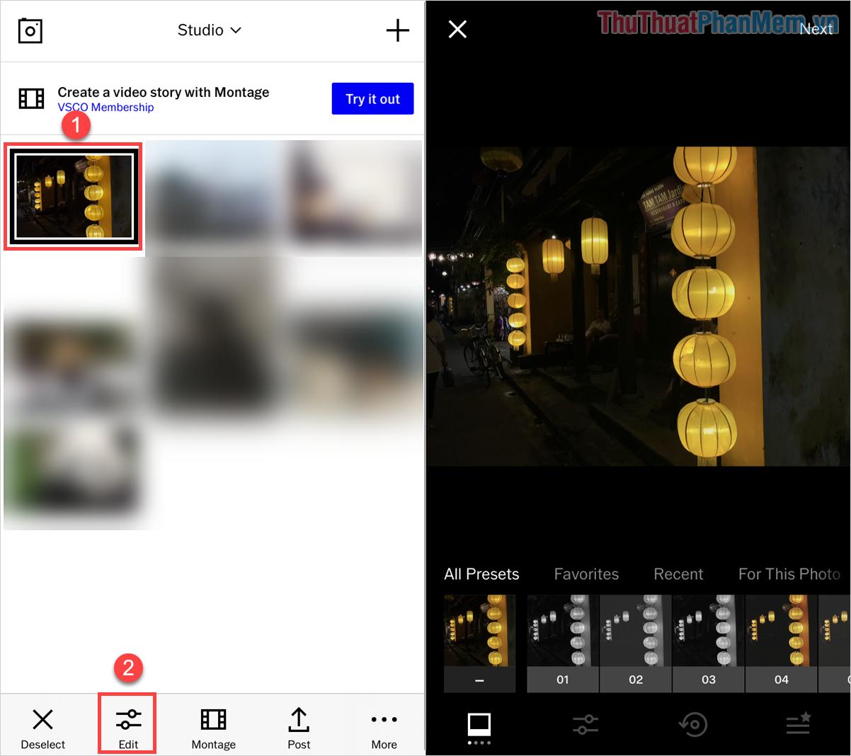 Chọn hình ảnh mình cần chỉnh sửa trên giao diện chính của VSCO và nhấn vào Edit để bắt đầu