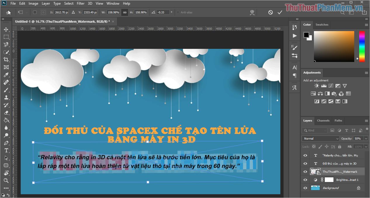Chọn Transform (Ctrl + T) để chỉnh sửa Layer Logo