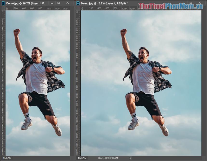 So sánh hình ảnh gốc và hình ảnh sau khi mở rộng để thấy được sự khác biệt